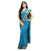 Blue Sand Block Printed Cotton Saree