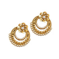 Gold Plated Floral Pearl Earrings