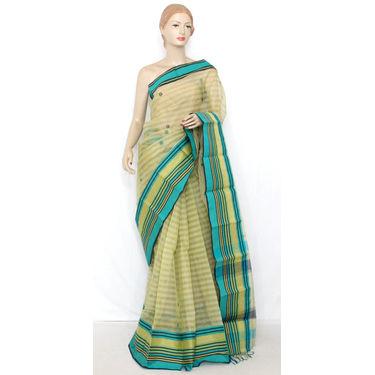 Light Yellow Bengali Tant Saree