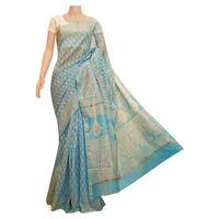 Turquoise Chanderi Silk Saree