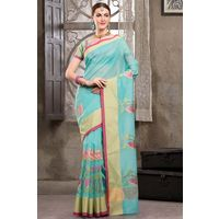 Light Blue Weaved Cot Silk Saree