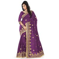 Purple Chanderi Silk Embroidered Saree