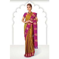Gold Zari Weaved Pure Silk Saree in Pink Pallu