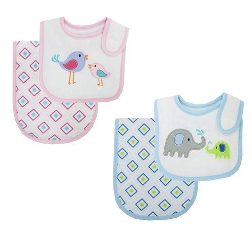 Elephant / Bird Bib & Burp Cloths