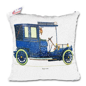 reemavision - Car Printing Reversible Sequin Cushion Cover, baby boy