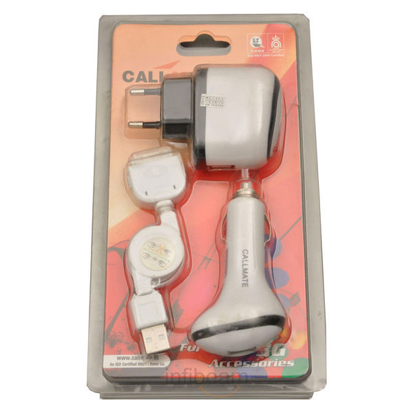 Callmate 3-in-1 iPhone Car and Wall Charger,  white