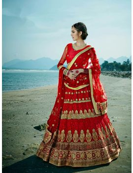 RUHABS MAROON COLOUR LEHENGA WITH THREAD WORK NET BLOUSE & MAROON DUPATTA