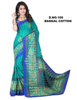 Blue Colour Bangal Cotton Chex Saree