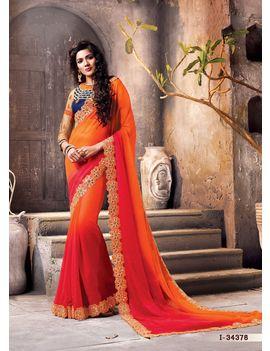 Ruhabs Red & Orange colour Saree
