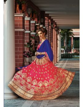 RUHABS PINK COLOUR LEHENGA WITH NET BLOUSE & VIOLET DUPATTA