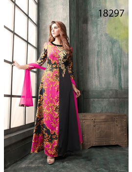 Black And Pink Colored Japan Satin Silk Suit.