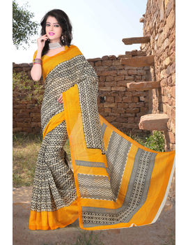 Yellow Black Colour Soft Cotton Saree