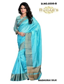 Ruhabs Blue Cotton Saree, cotton, r-re-8599b, kanjiwaram