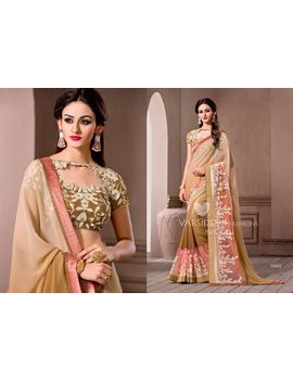 Ruhabs Chikoo Colour Georgette Saree With Mehendi Blouse