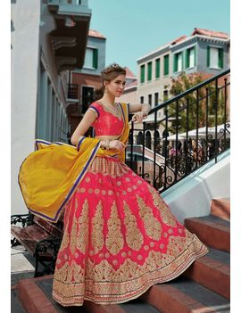 RUHABS PINK COLOUR LEHENGA WITH NET BLOUSE & YELLOW DUPATTA