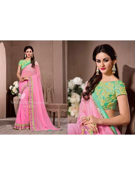 Ruhabs Light Pink Colour Georgette Saree With Light Green Blouse