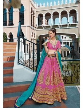 RUHABS PINK COLOUR LEHENGA WITH NET BLOUSE & BLUE DUPATTA