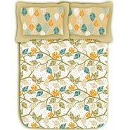 Leaf printed cotton double bed sheet