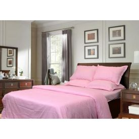 Sateen Stripes Duvet Cover - Double, baby pink