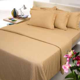 Sateen Stripes Bed Sheet Set - Double, gold