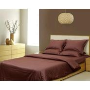 Sateen Stripes Duvet Set, brown