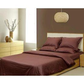 Sateen Stripes Duvet Set, brown