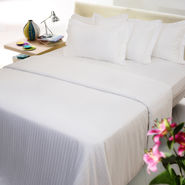 Sateen Stripes white single Duvet Cover