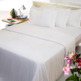 Sateen Stripes white single Duvet Cover