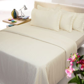 Sateen Stripes Bed Sheet with two pillow covers - King, ivory