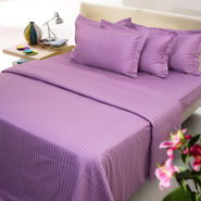 Sateen Stripes Bed Sheet Set - Single, lavender