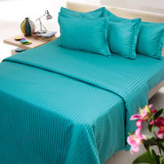 Sateen Stripes Duvet Set, cyan