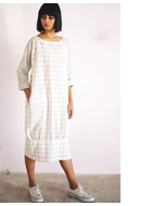 Three Checked Dress, white, s