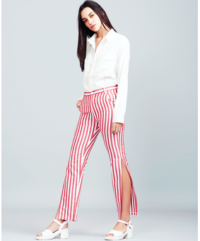 Summation Candy Cane Slit Pants, red, m
