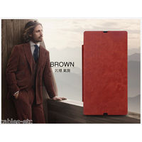 KLD Italian Leather Royal Flip Diary Cover Case For Sony Xperia Z LT36i - Brown