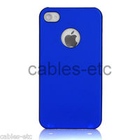 Frosted Matte Hard Back Case Cover With Apple Logo Cut Out For iPhone 5 - Blue