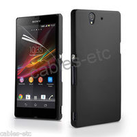 Rubberised Frosted Snap On Hard Back Case Cover For Sony Xperia Z LT36i - Black