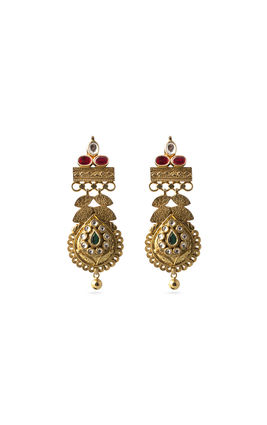 MULTI STONE GOLD LOOK KUNDAN EARRINGS