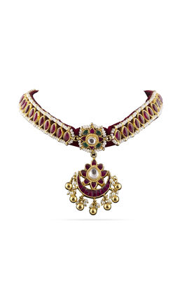 MULTI KUNDAN MAROON THREAD NECKLACE SET