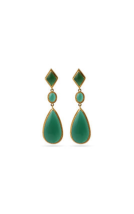 GREEN ONEX STONE EARRINGS