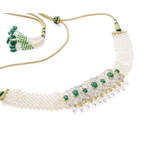 GREEN ONYX STONE CZ DIAMOND PEARL GUTHANI NECKLACE SET