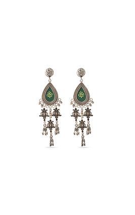 Green stone silver earrings