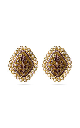 MAROON ENAMEL EARRINGS