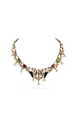 MULTI KUNDAN PEACOCK DESIGN 1 LINE NECKLACE SET