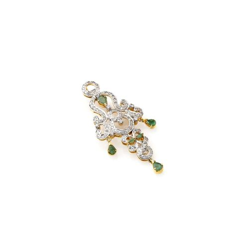 EMERALD STONE CZ DIAMOND PENDANT SET