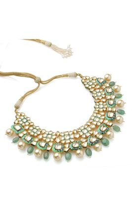 FULL WHITE KUNDAN GREEN WHITE ENAMEL NECKLACE SET