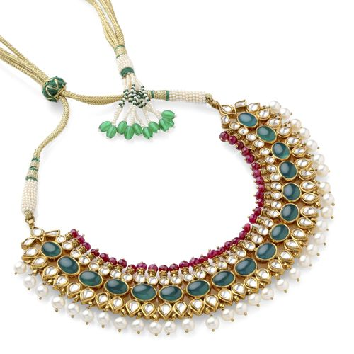 REAL EMERALD WHITE KUNDAN NECKLACE SET