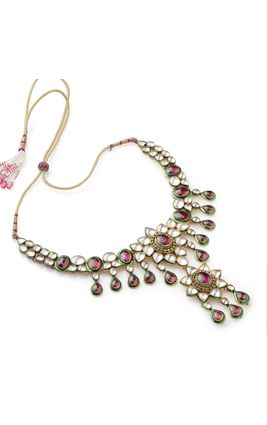 RHODO WHITE KUNDAN BIG STONE NECKLACE SET