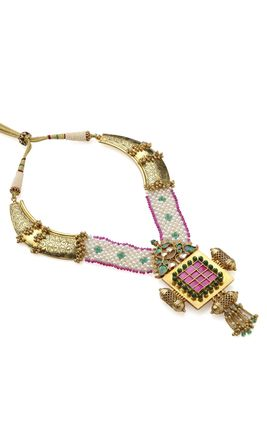 MULTI KUNDAN GOLD LOOK CHAINA PEARL GUTHANI HASDI NECKLACE SET