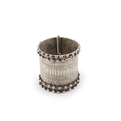 SILVER ANTIQUE BROAD RAVA BRACELET