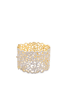 CZ DIAMOND BROAD CUFF BRACELET